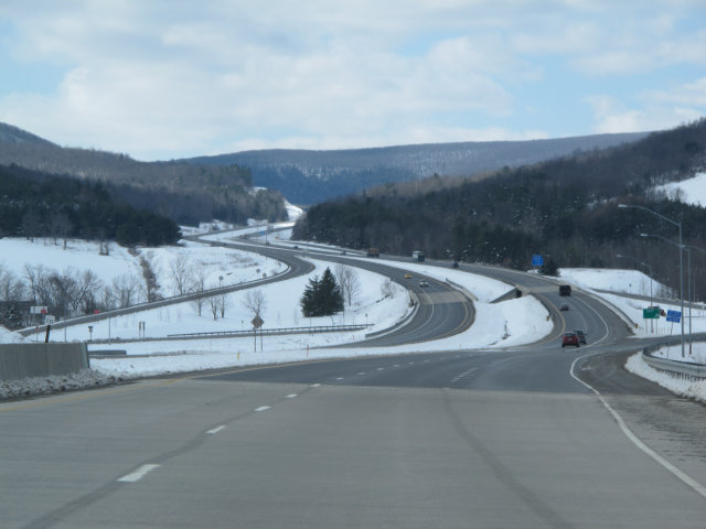 US15 in Pennsylvania, with snow.