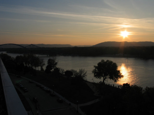 A sunset in La Crosse, Wisconsin over an unnamed river.