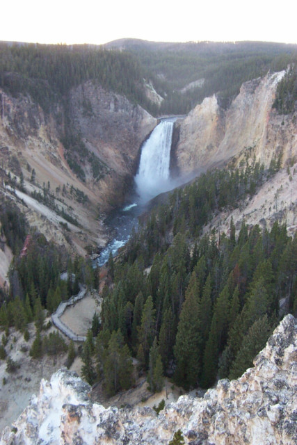 A big, beautiful waterfall and canyon in Yellowstone National Park.