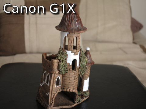 G1X zoomed in  macro capture of a ceramic castle.