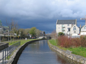 A canal behind downtown Galway.